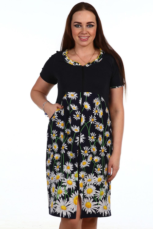 Халат женский Кузина на молнииДомашняя одежда<br><br><br>Размер: Пионы