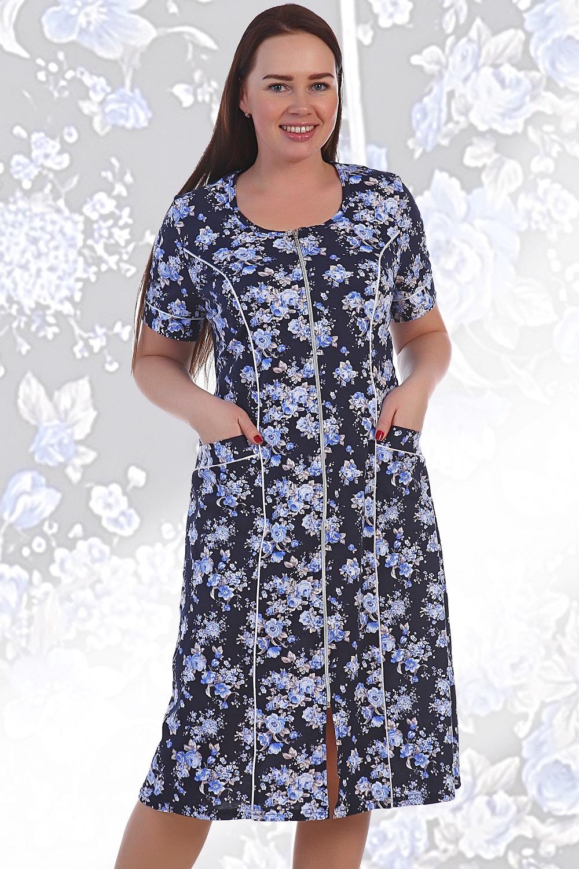 Халат женский Лидия на молнииДомашняя одежда<br><br><br>Размер: 58