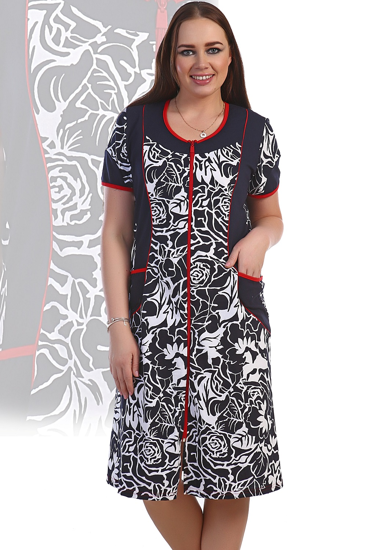 Халат женский Марьяна с коротким рукавомДомашняя одежда<br><br><br>Размер: 64