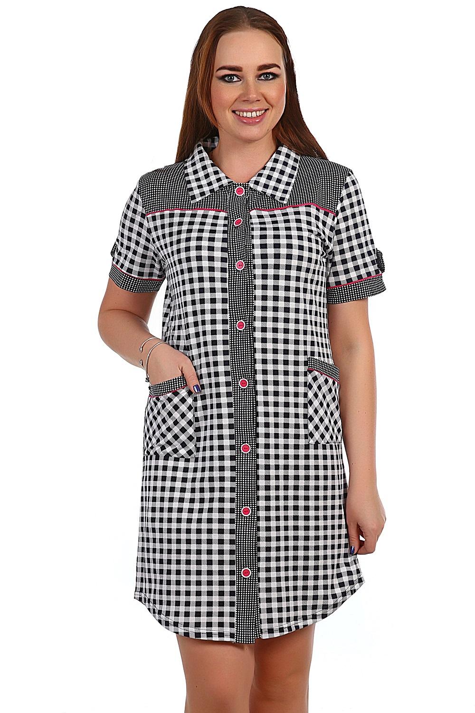 Халат женский Милуоки на пуговицахДомашняя одежда<br><br><br>Размер: Чёрный в белую клетку