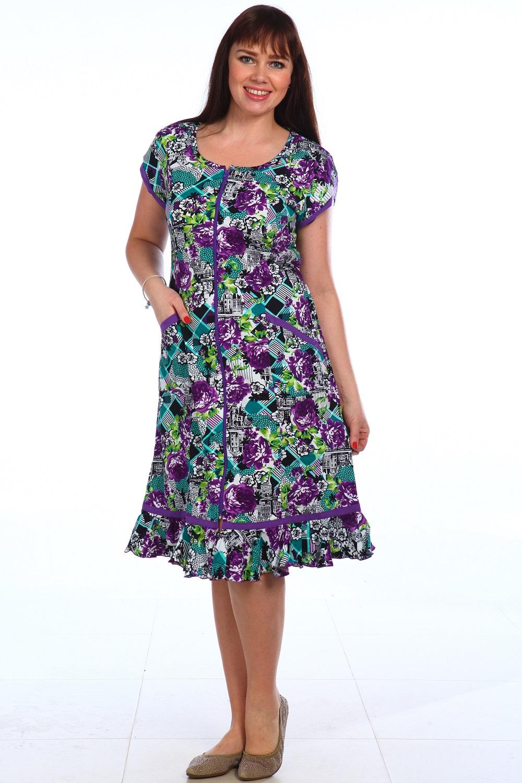 Халат женский Мотылёк на молнииДомашняя одежда<br><br><br>Размер: Изумрудный с фиолетовым