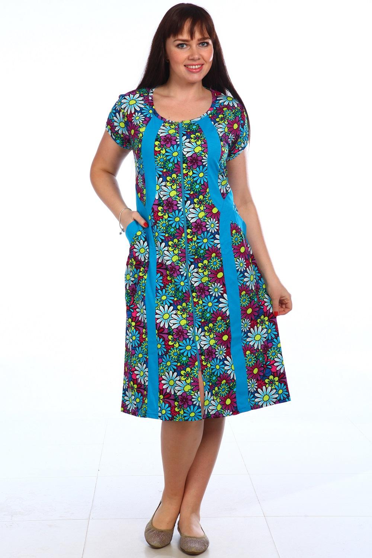 Халат женский Неженка на молнииДомашняя одежда<br><br><br>Размер: Бирюзовый