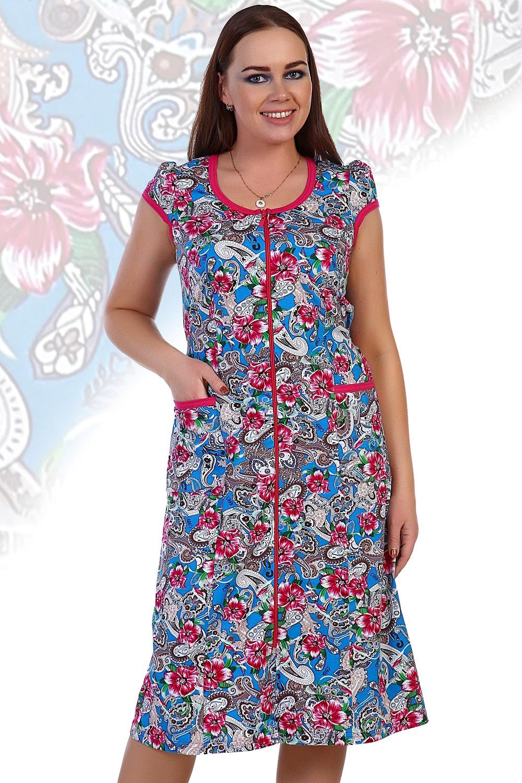 Халат женский Оксана на молнииДомашняя одежда<br><br><br>Размер: Голубой