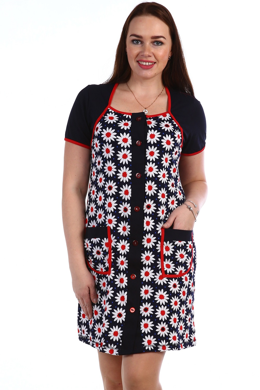 Халат женский Разноцветье на пуговицахКоллекция ВЕСНА-ЛЕТО<br><br><br>Размер: 52