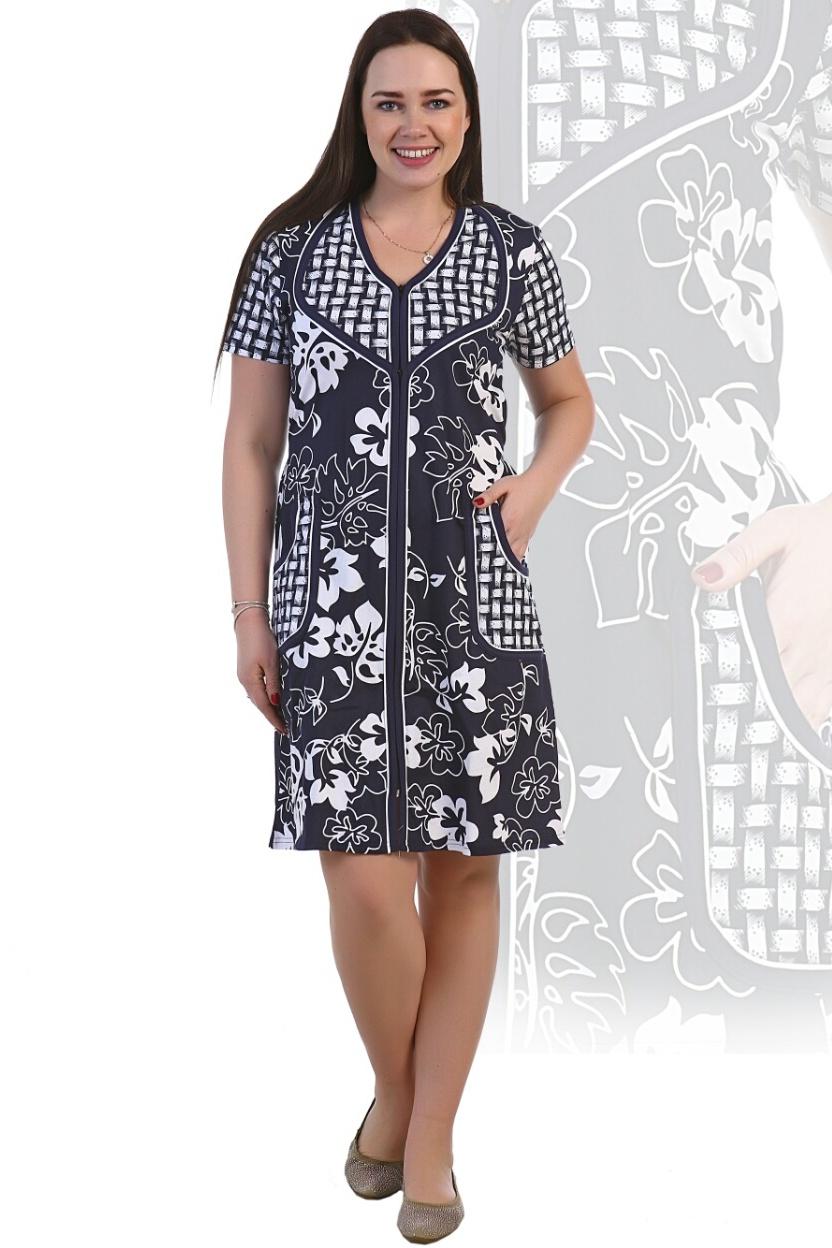 Халат женский Розена на молнииДомашняя одежда<br><br><br>Размер: 52