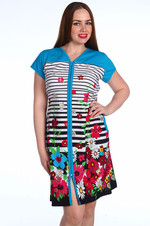 Халат женский Серенада на молнииДомашняя одежда<br>Халат на молнии с коротким рукавом, V-образным вырезом горловины, карманами, оригинальным рисунком, прямого силуэта.Удобный и практичный повседневный вариант домашней одежды.<br>Рост модели - 165 см.<br>Ткань - кулирка.<br><br>Размер: Голубой