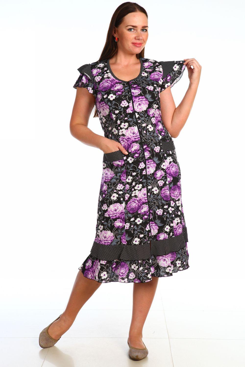 Халат женский Стрекоза без рукаваДомашняя одежда<br><br><br>Размер: 66