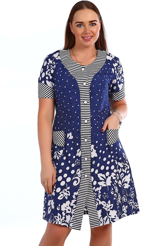 Халат женский Тополиный пух на пуговицахДомашняя одежда<br><br><br>Размер: 54