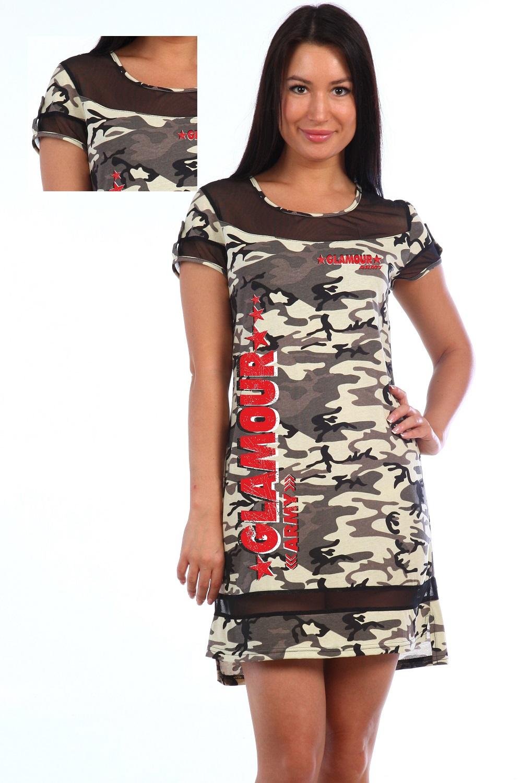 Платье женское Army с гипюровыми вставкамиПлатья и сарафаны<br><br><br>Размер: 46