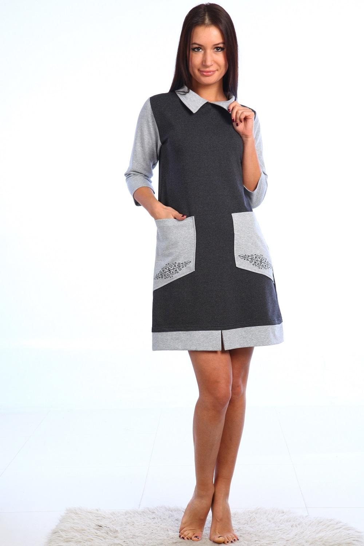 Платье женское Силуэт с отложным воротникомПлатья и сарафаны<br><br><br>Размер: 48