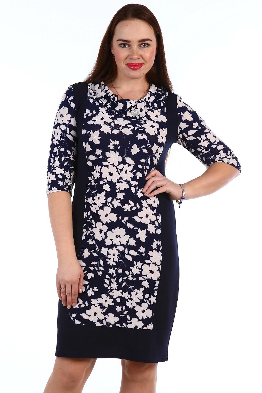 Платье женское Фиона с отложным воротникомКоллекция ВЕСНА-ЛЕТО<br><br><br>Размер: Розовые круги