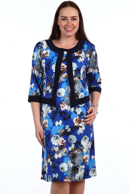 Платье женское Монреаль с круглым вырезомКоллекция ВЕСНА-ЛЕТО<br><br><br>Размер: Голубой