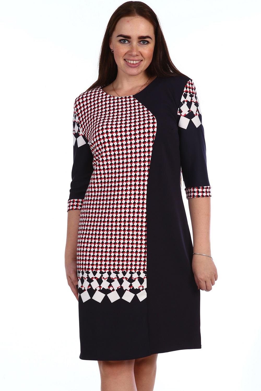Платье женское Теффи с круглым вырезом горловиныКоллекция ВЕСНА-ЛЕТО<br><br><br>Размер: Красный с чёрный