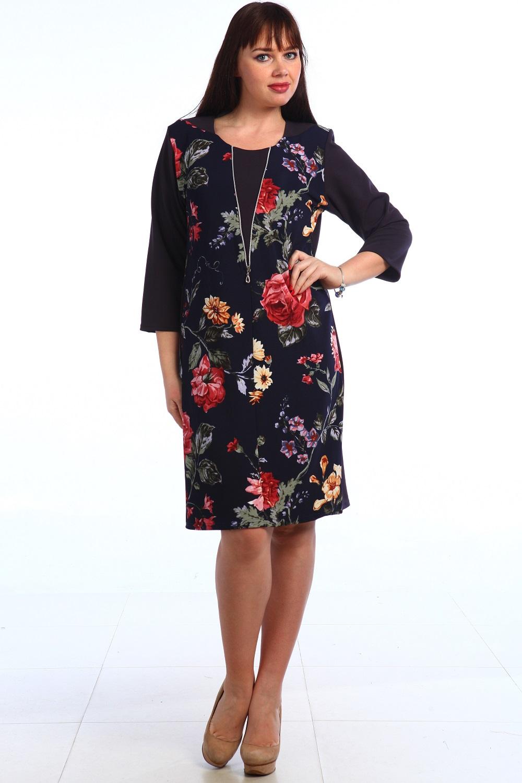 Платье женское Вилора с круглым вырезомКоллекция ВЕСНА-ЛЕТО<br><br><br>Размер: Чёрный с красным