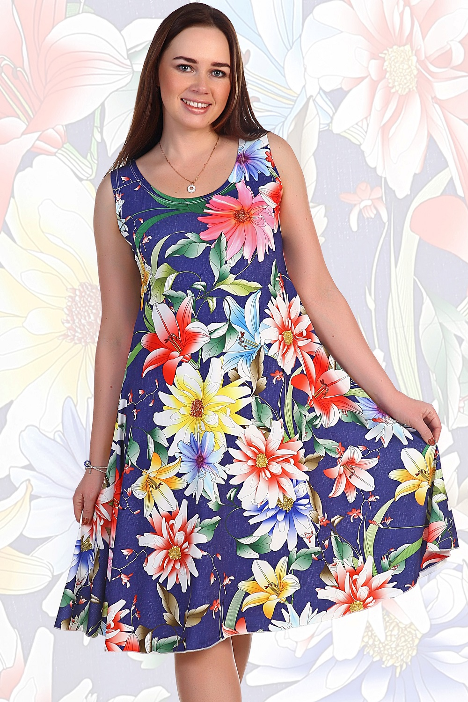 Платье женское Зухра без рукаваКоллекция ВЕСНА-ЛЕТО<br><br><br>Размер: Синий