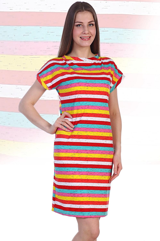 Платье женское Южанка с коротким рукавомПлатья и сарафаны<br><br><br>Размер: Синяя полоска