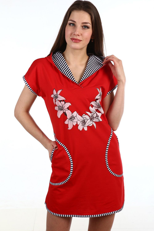 Туника женская Тилли с капюшономКоллекция ВЕСНА-ЛЕТО<br><br><br>Размер: 60