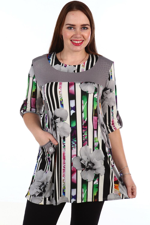 Туника женская Залина с кокеткойКоллекция ВЕСНА-ЛЕТО<br><br><br>Размер: Чёрный
