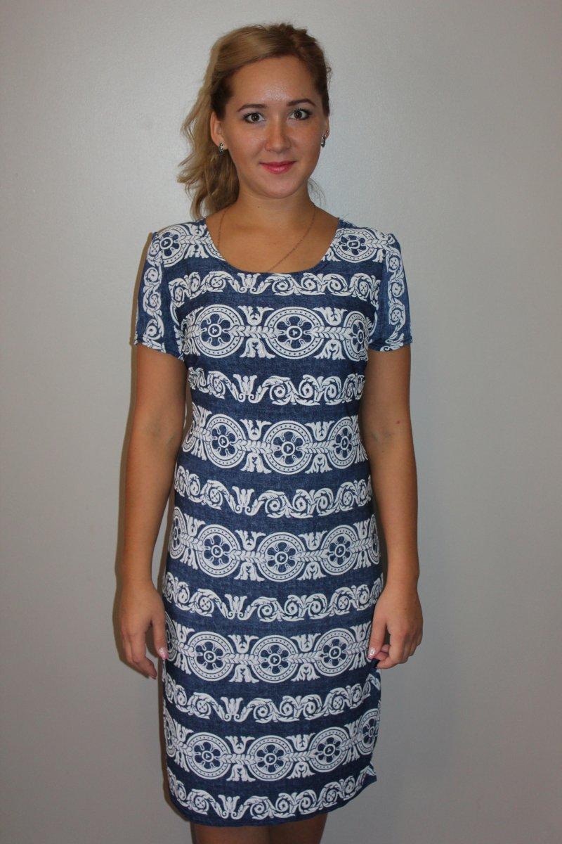 Платье женское с коротким рукавом Венецианский узорПлатья и сарафаны<br><br><br>Размер: 48