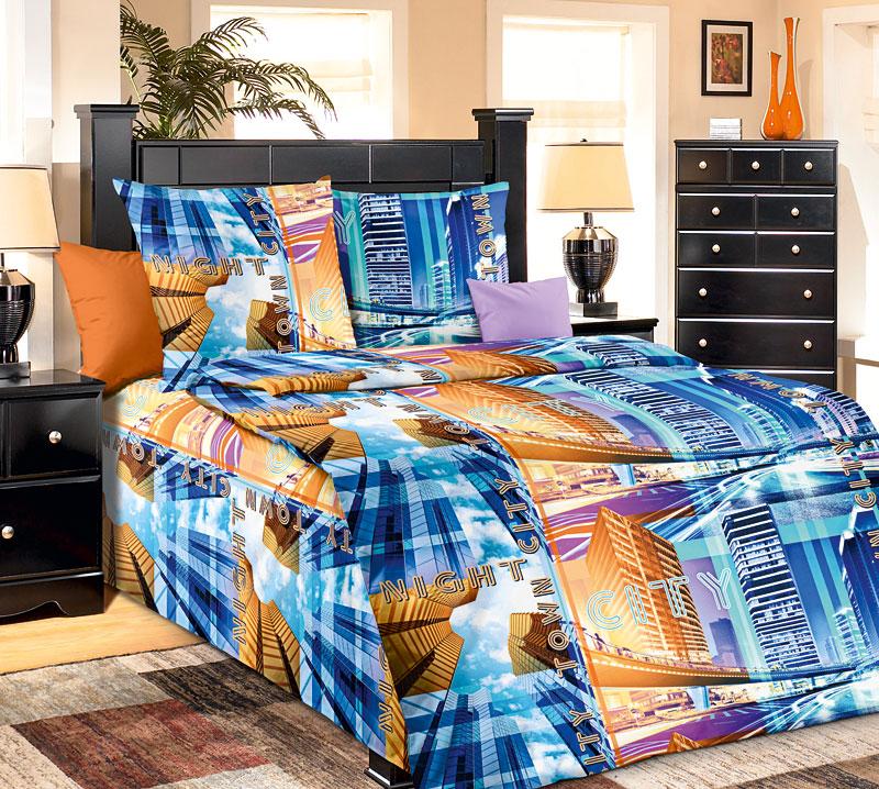 Комплект постельного белья Нью Йорк из бязиБязь<br><br><br>Размер: 1,5сп (2 нав.70х70)