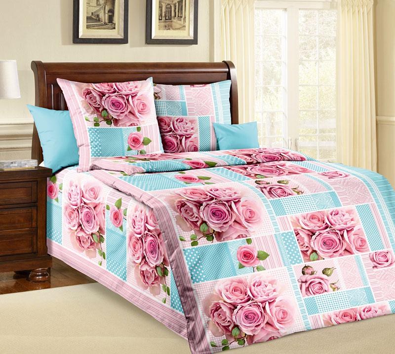 Комплект постельного белья Розали из бязиБязь<br><br><br>Размер: 1,5сп (2 нав.70х70)