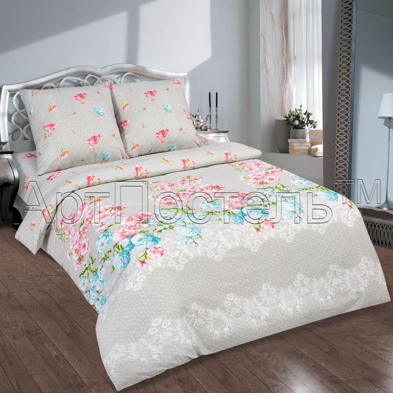 Комплект постельного белья Ноктюрн из поплинаПоплин<br><br><br>Размер: 1.5сп. (2 нав.70х70)