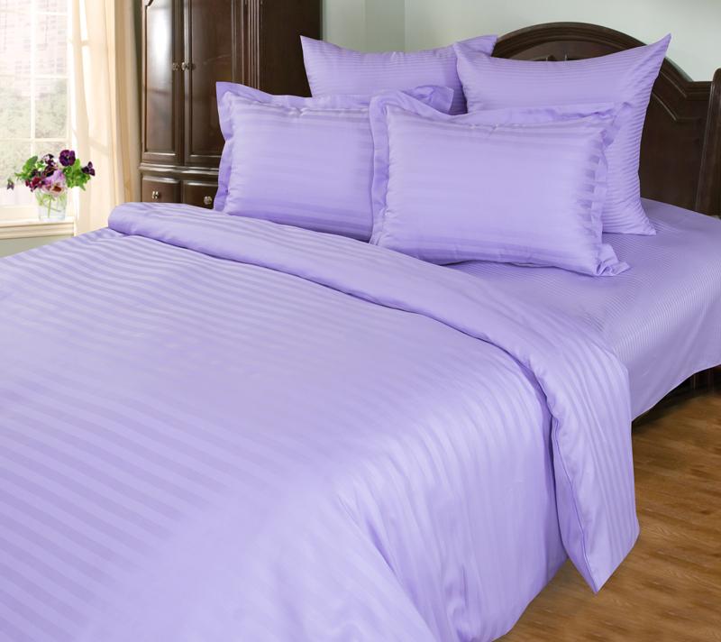 Комплект постельного белья Фиалка из сатинаСатин<br><br><br>Размер: Евростандарт (4 нав):70x70 (2 шт) и 50х70 (2 шт)