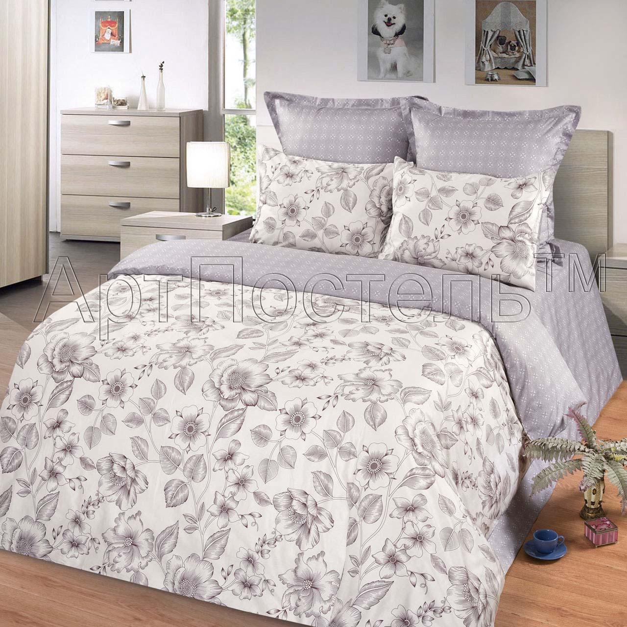 Комплект постельного белья Хрусталь из сатинаСатин<br><br><br>Размер: Евростандарт (4 нав):70x70 (2 шт) и 50х70 (2 шт)