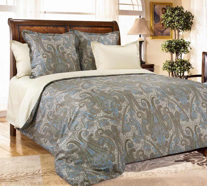 Комплект постельного белья Кашмир 1 из сатинаСатин<br><br><br>Размер: 2сп. с европростыней (2 нав. 70х70)