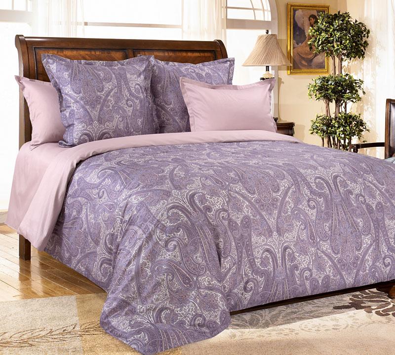 Комплект постельного белья Кашмир 3 фиолетовый из сатинаСатин<br><br><br>Размер: 2сп. с европростыней (2 нав. 70х70)