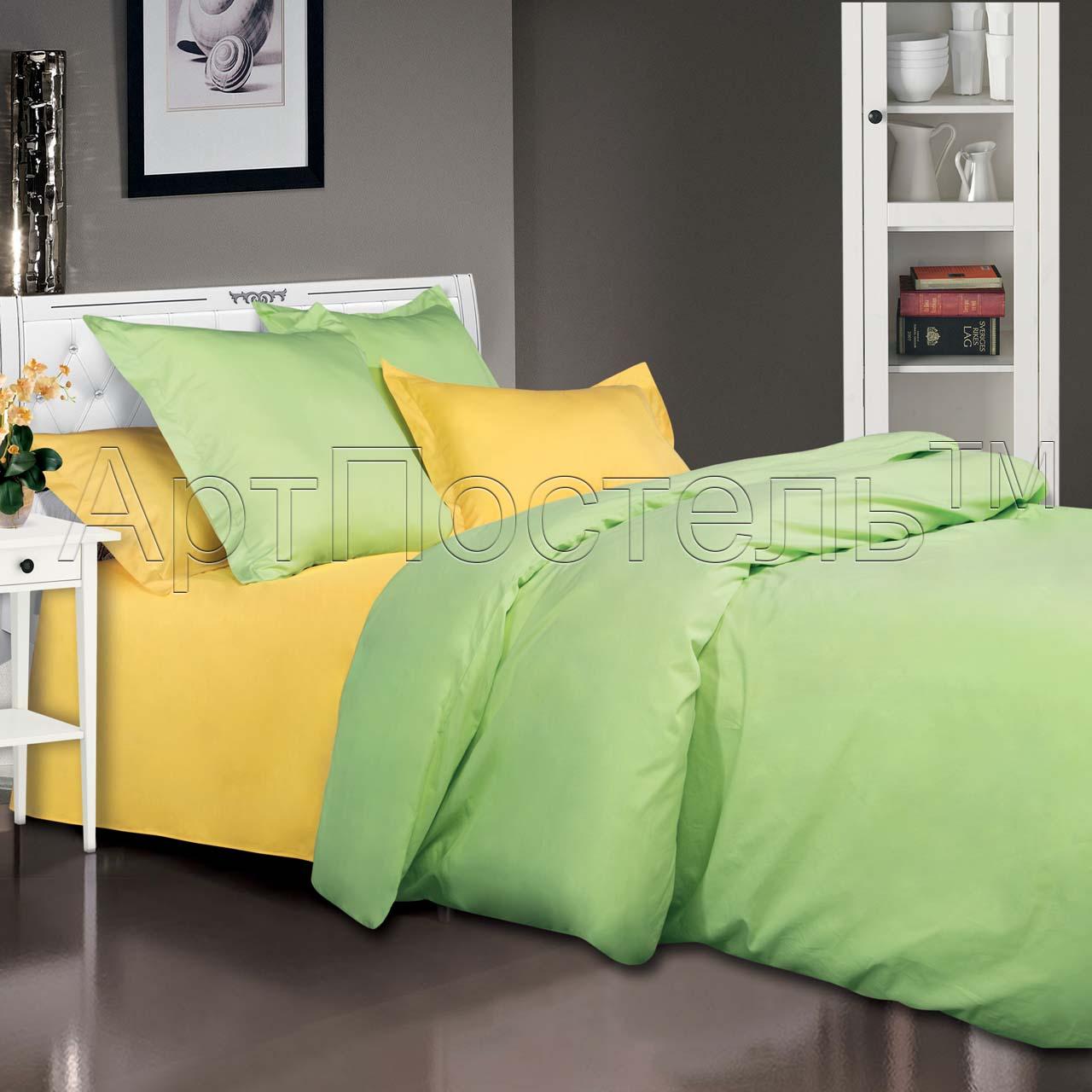 Комплект постельного белья Лайм из сатинаСатин<br><br><br>Размер: 1.5сп. (4 нав): 70x70 (2 шт) и 50х70 (2 шт)