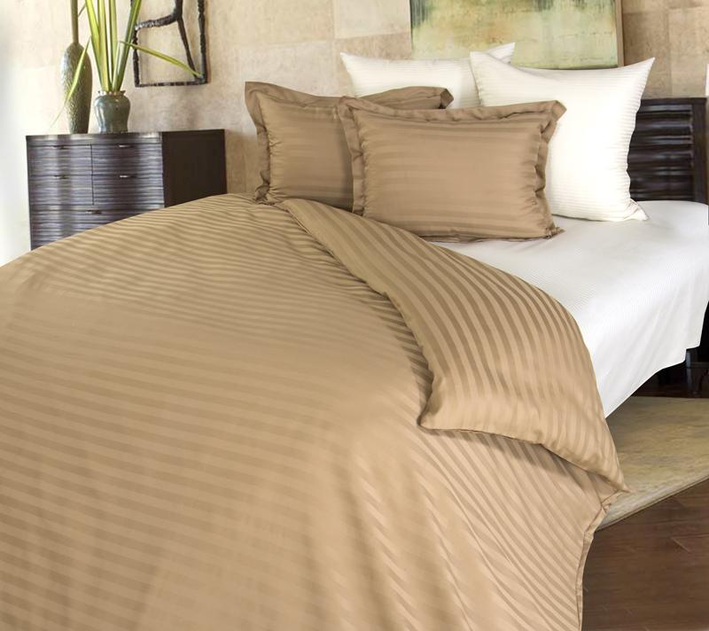 Комплект постельного белья Латте из сатинаСатин<br><br><br>Размер: 1.5сп. (2 нав.70х70)
