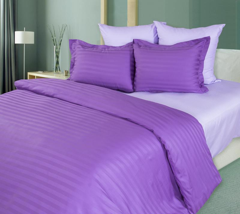Комплект постельного белья Лаванда из сатинаСатин<br><br><br>Размер: Евростандарт (4 нав) 70x70 (2 шт) и 50х70 (2 шт)