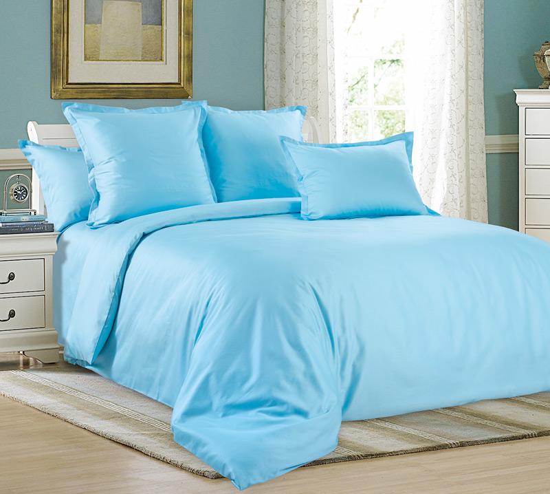 Комплект постельного белья Лазурит из сатинаСатин<br><br><br>Размер: Евромакси (2 нав. 70х70)