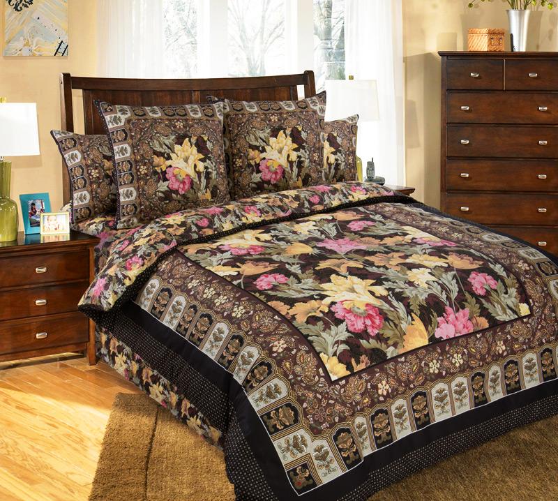 Комплект постельного белья Маргарита из сатинаСатин<br><br><br>Размер: Евростандарт (2 нав. 70х70)