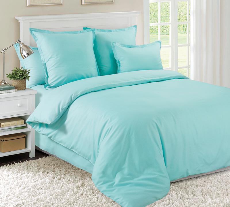 Комплект постельного белья Ментол из сатинаСатин<br><br><br>Размер: 2сп. с европростыней (2 нав. 70х70)