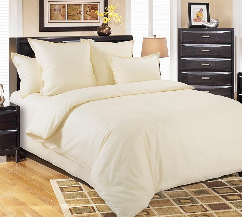Комплект постельного белья Молочный из сатинаСатин<br><br><br>Размер: 1.5сп. (2 нав.70х70)