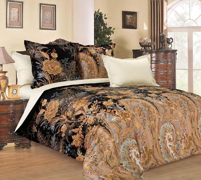 Комплект постельного белья Музей с компаньоном черный из сатинаСатин<br><br><br>Размер: Семейный (4 нав)70x70 (2 шт) и 50х70 (2 шт)