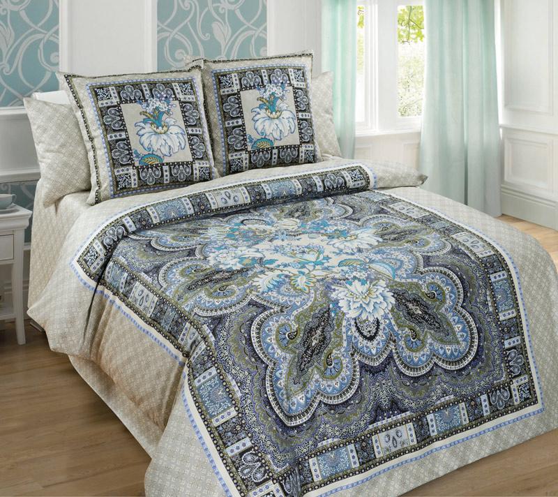Комплект постельного белья Неаполь из сатинаСатин<br><br><br>Размер: Семейный (4 нав) 70x70 (2 шт) и 50х70 (2 шт)