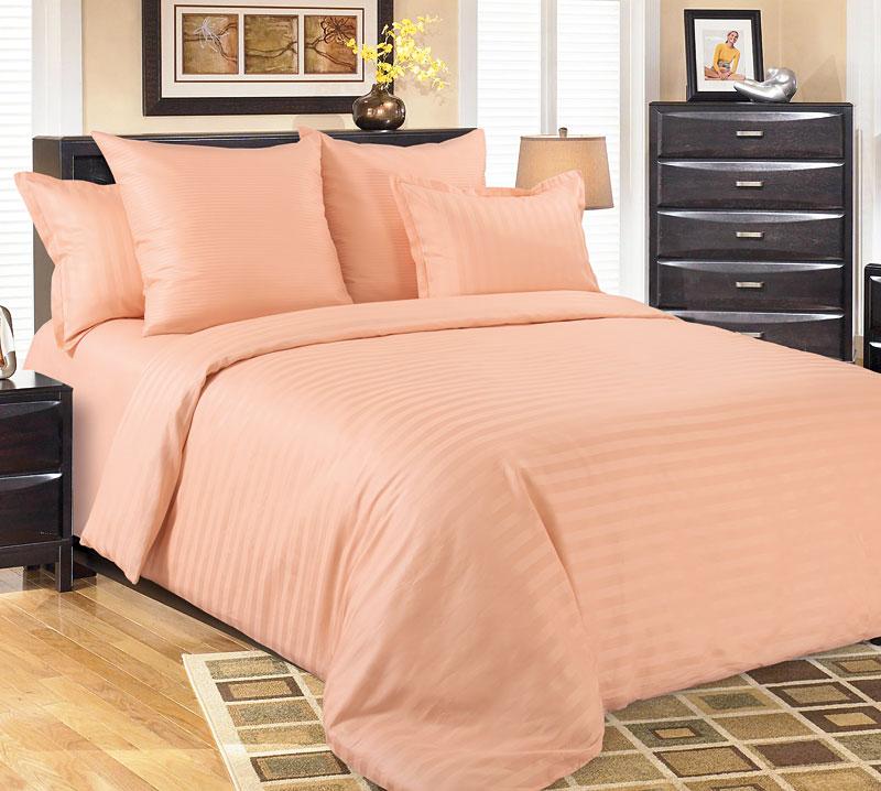 Комплект постельного белья Нежный персик из сатинаСатин<br><br><br>Размер: Евромакси (4 нав) 70x70 (2 шт) и 50х70 (2 шт)