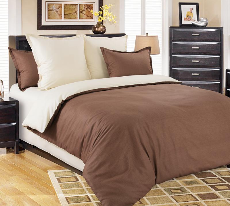 Комплект постельного белья Шоколад из сатинаСатин<br><br><br>Размер: Евростандарт (2 нав. 70х70)