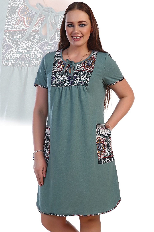 Платье женское Дикая мята с карманамиПлатья и сарафаны<br><br><br>Размер: 58
