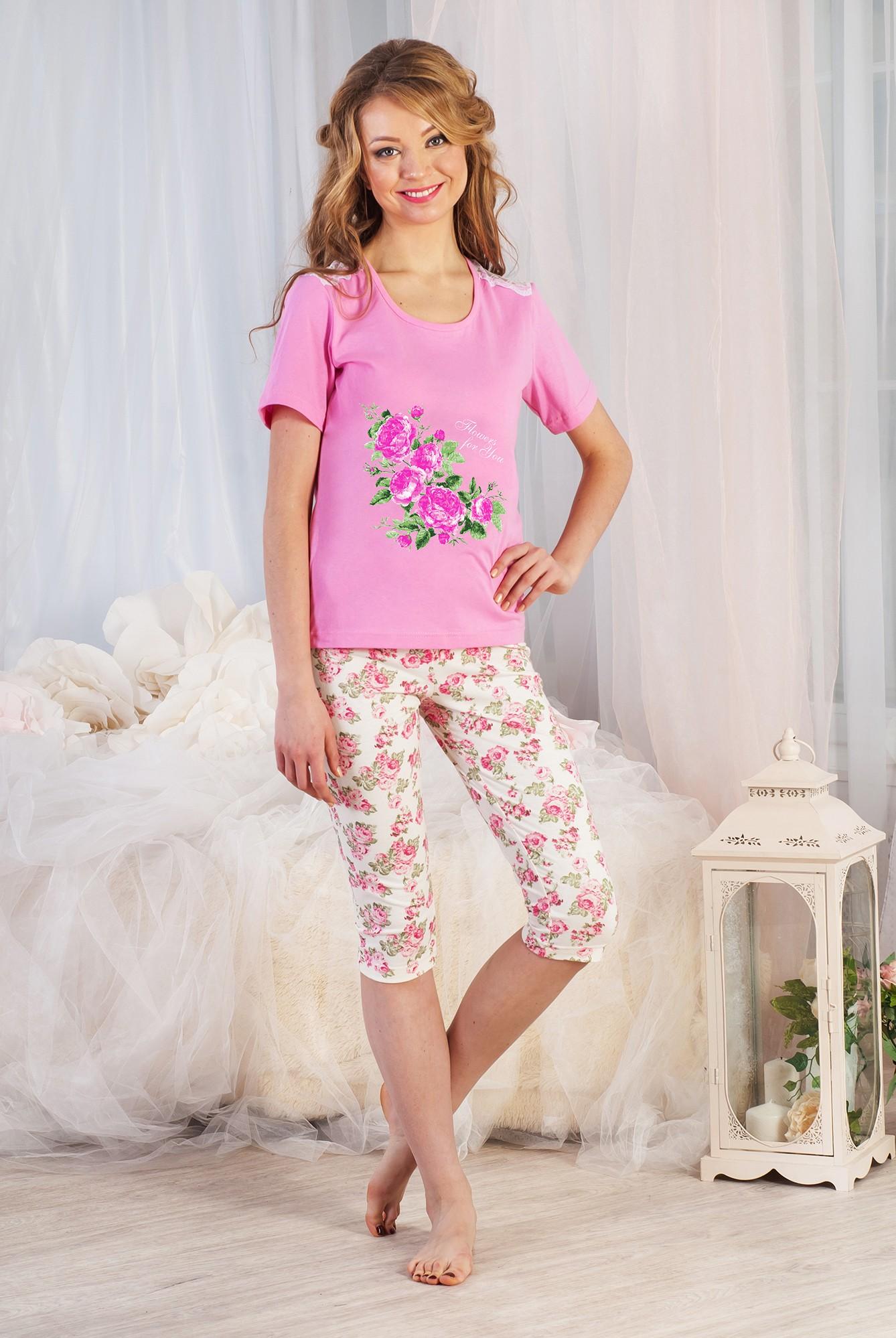 Костюм женский Камелия футболка и бриджиКостюмы<br><br><br>Размер: 56