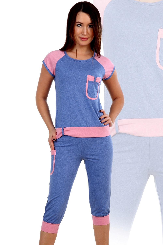 Пижама женская Алла футболка и бриджиПижамы<br><br><br>Размер: Коралловый
