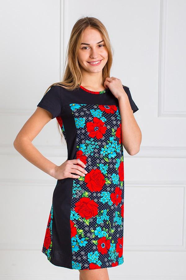 Платье женское Пион с коротким рукавомПлатья<br><br><br>Размер: Красный с синим
