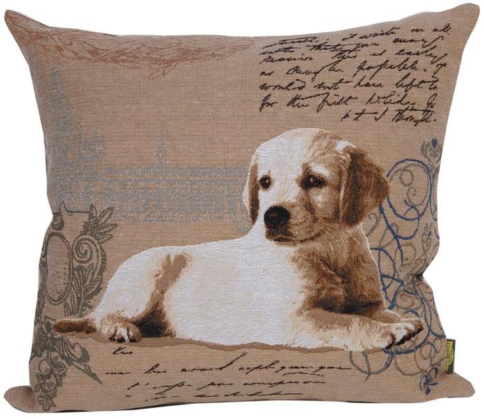 Наволочка гобеленовая квадратная с собакой ЛабрадорПодарки на День рождения<br><br><br>Размер: 50х50