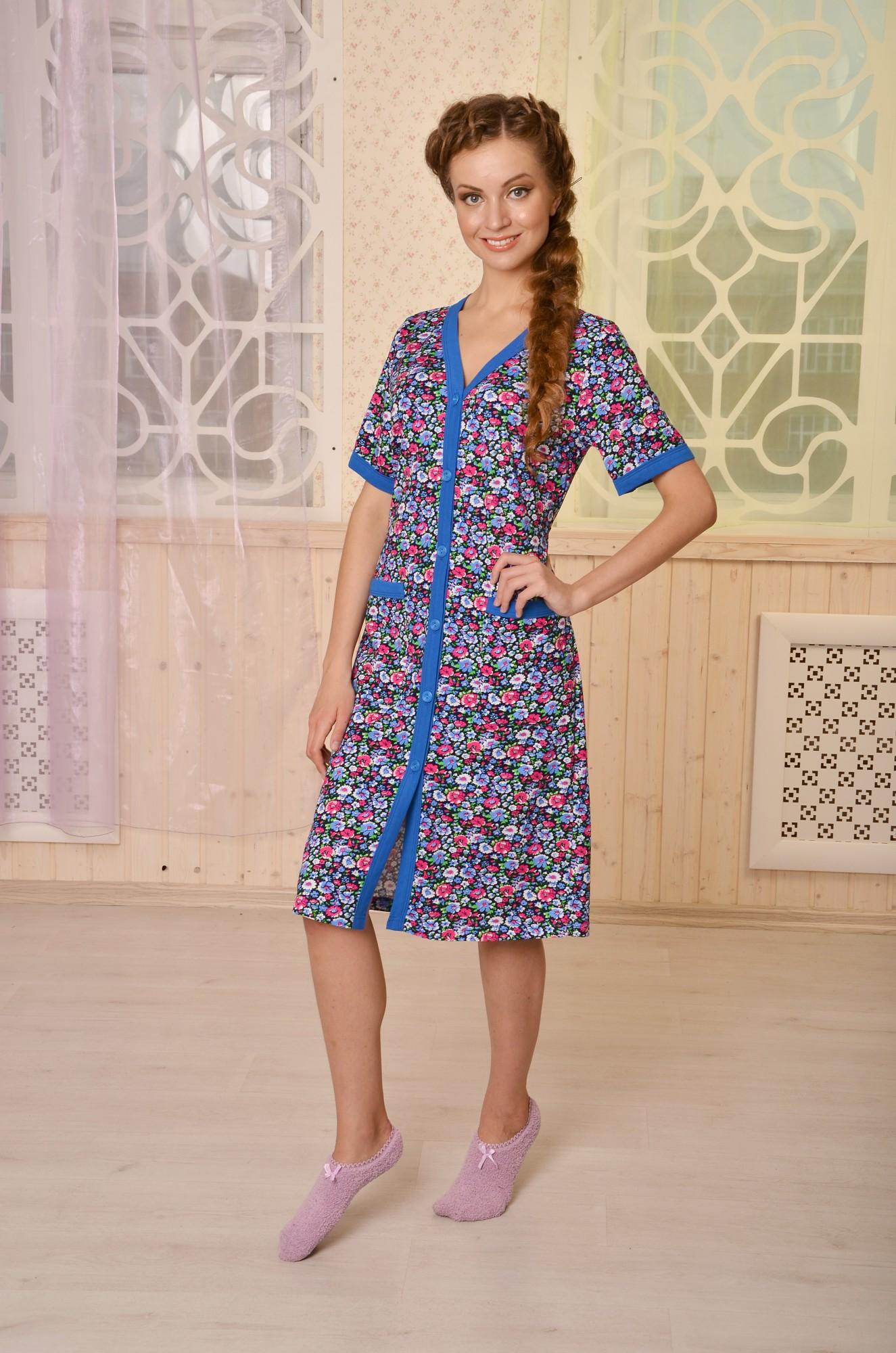 Халат на пуговицах ниже колена ВасилисаДомашняя одежда<br><br><br>Размер: 56