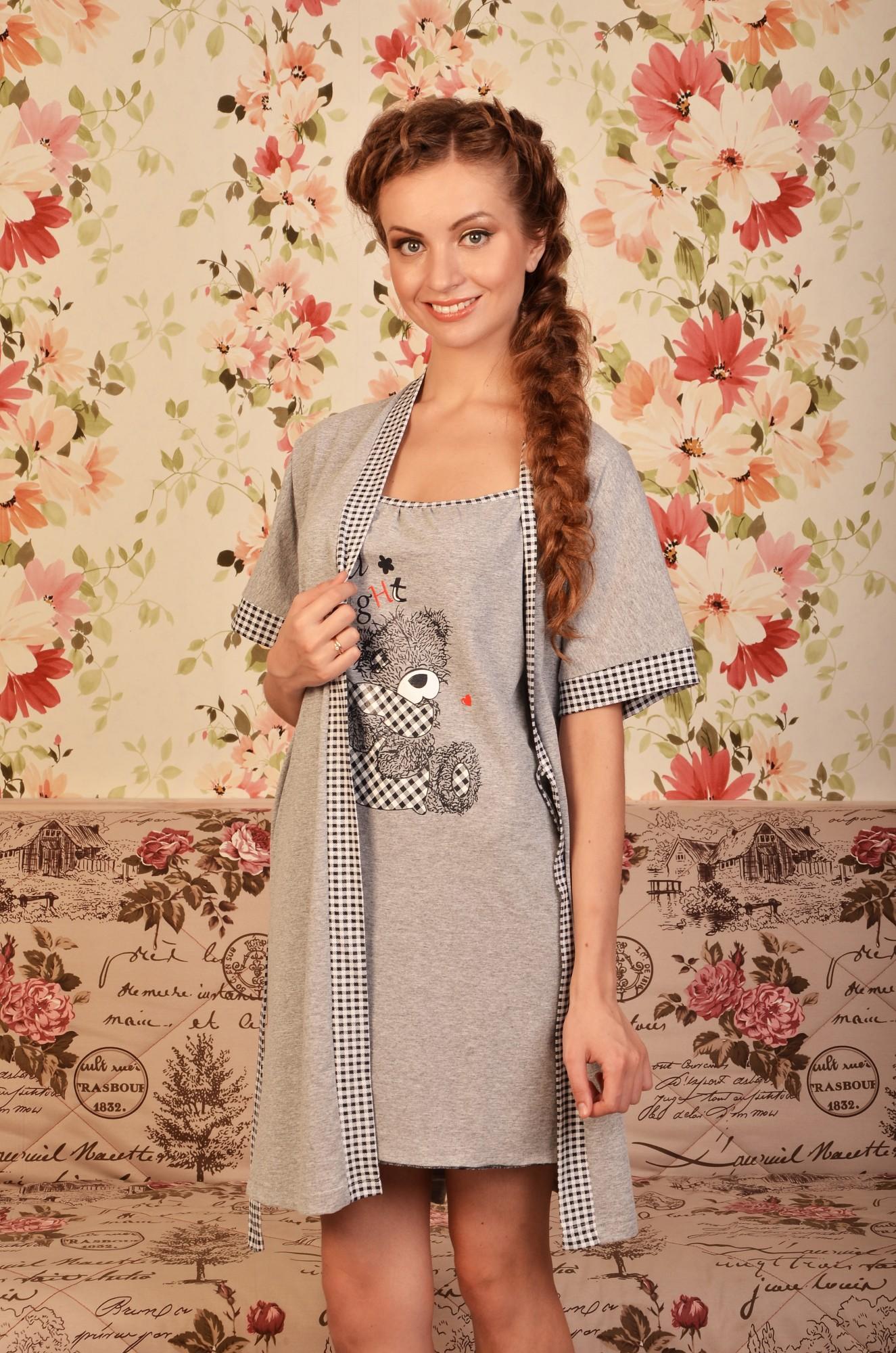 Комплект женский Акварель сорочка с халатом до коленаСорочки<br><br><br>Размер: 48