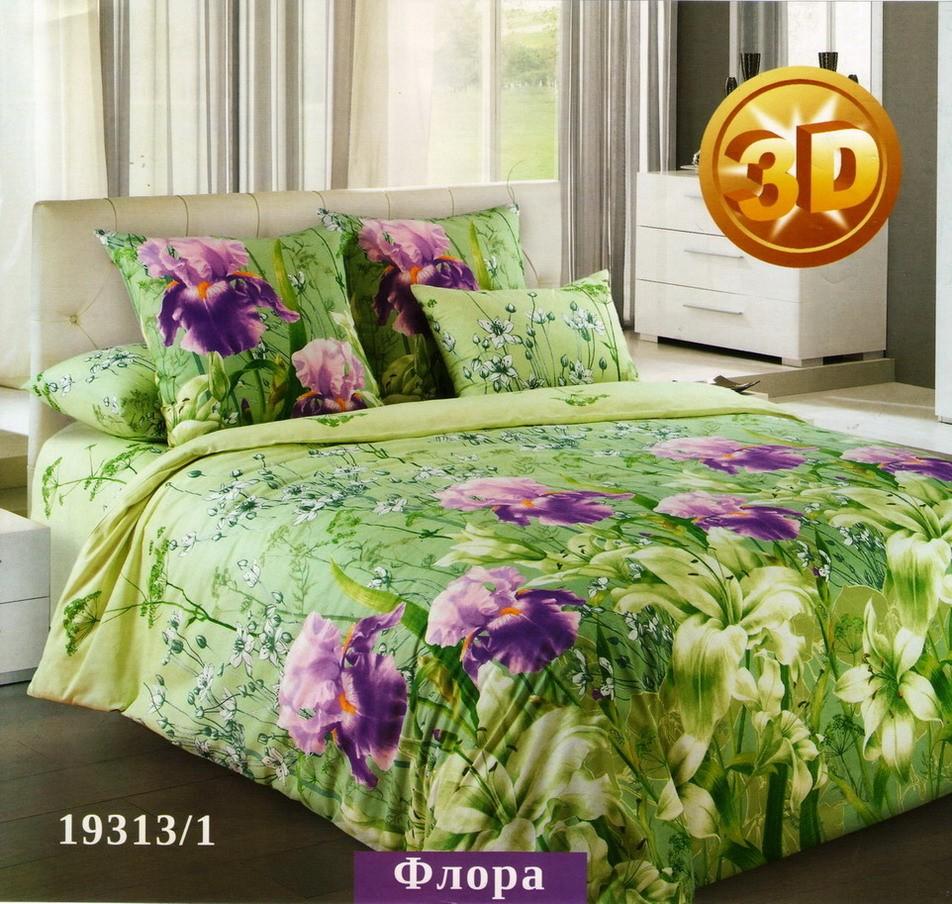 Комплект постельного белья ФлораПеркаль<br><br><br>Размер: 2сп. с европростыней (2 нав. 70х70)