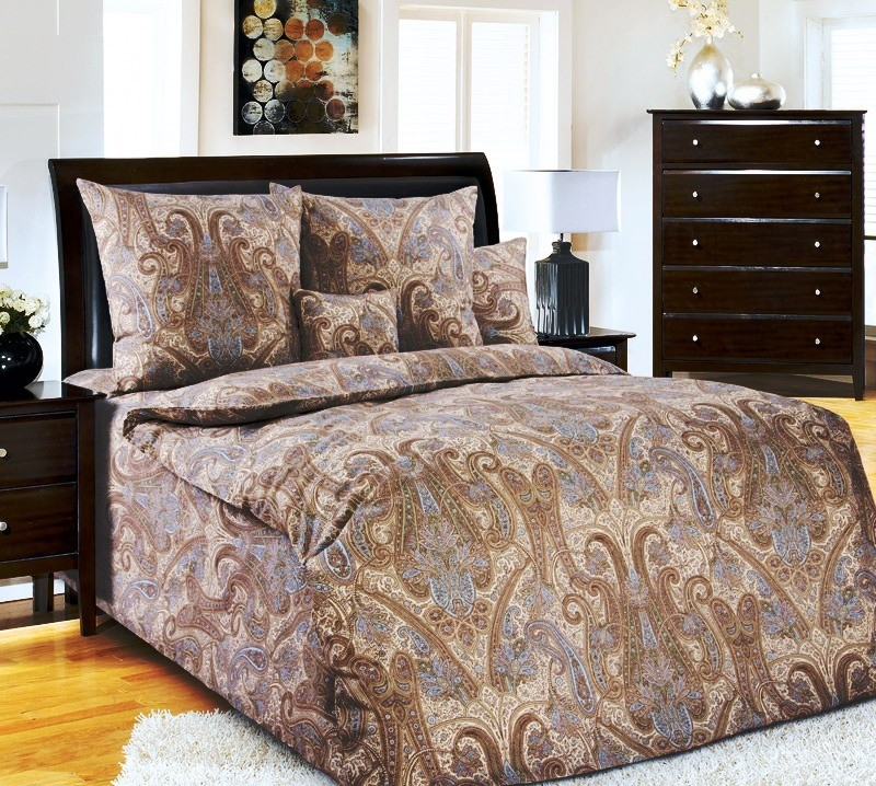 Комплект постельного белья Кашмир коричневыйПеркаль<br><br><br>Размер: Евростандарт (2 нав. 70х70)